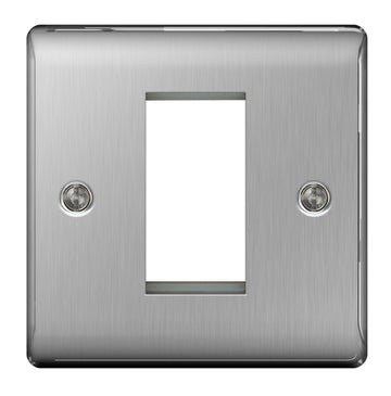 BG NBSEMS1 Euro Module Brushed Steel 1 Module Square Front Plate - SND Electrical Ltd