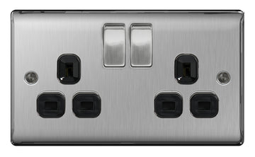 BG NBS22B Brushed Steel 2 Gang Double Plug Socket Switched
