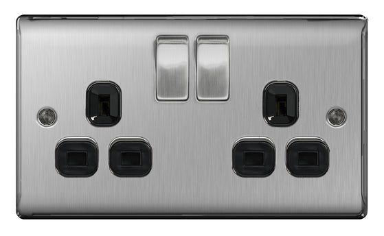BG NBS22B Brushed Steel 2 Gang Double Plug Socket Switched - SND Electrical Ltd