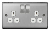 BG NSB22W Brushed Steel 2 Gang Plug Socket Switched - SND Electrical Ltd