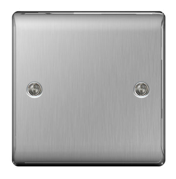 BG NBS94 Brushed Steel 1 Gang Blank Plate (Single) - SND Electrical Ltd