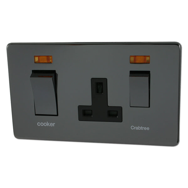 Crabtree Platinum 7521-1-BKN 45A DP Switch + Socket Black Nickel - SND Electrical Ltd