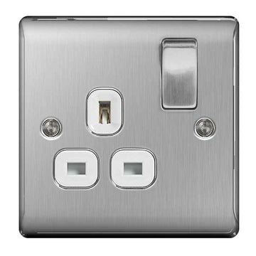 BG NBS21W Brushed Steel 1 Gang 13 Amp Switched Socket Double Pole White Insert