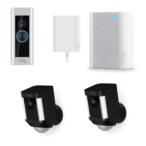 Ring Video Doorbell Pro & Chime & Dual Pack Spotlight Battery Black *MEGA BUNDLE*