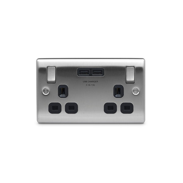 BG NBS22U3B Brushed Steel 2 Gang Socket with Black Insert & 2 x USB 3.1A - SND Electrical Ltd