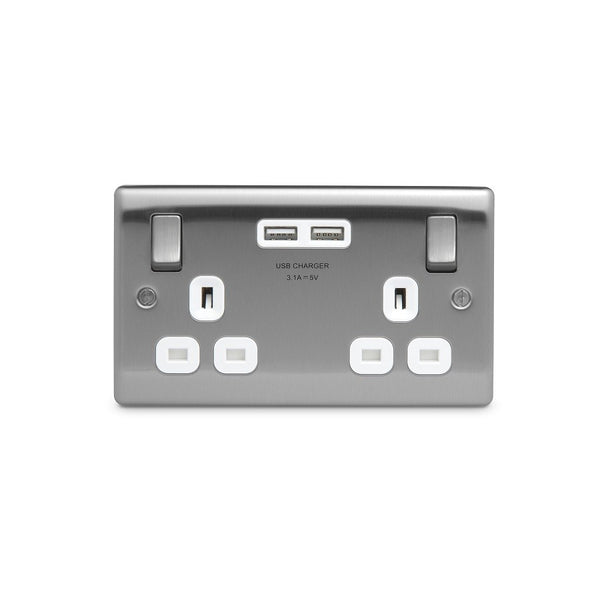 BG NBS22U3W Brushed Steel 2 Gang Socket with White Insert & 2 x USB 3.1A - SND Electrical Ltd