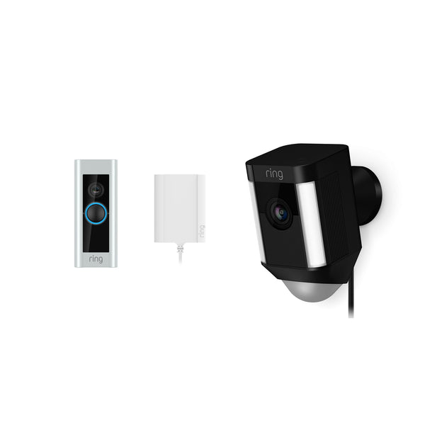 Ring Video Doorbell Pro Plug-In & Ring Spotlight Camera Wired Black *BUNDLE*