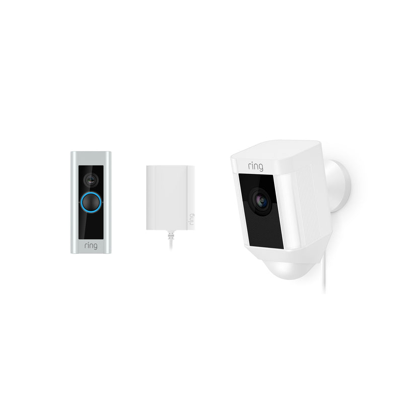 Ring Video Doorbell Pro Plug In & Ring Spotlight Camera Wired White *BUNDLE*