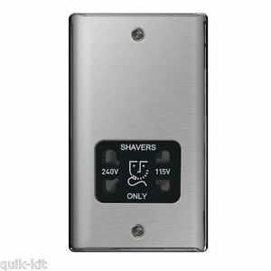 BG NBS20B Brushed Steel Shaver Socket Dual Voltage 115v / 230v Black Insert - SND Electrical Ltd