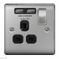 BG NBS21U2B Brushed Steel 1 Gang Single 13A Switched Socket with Black Insert and 2 x USB Ports 2.1A - SND Electrical Ltd
