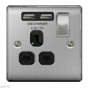 BG NBS21U2B Brushed Steel 1 Gang Single 13A Switched Socket with Black Insert and 2 x USB Ports 2.1A