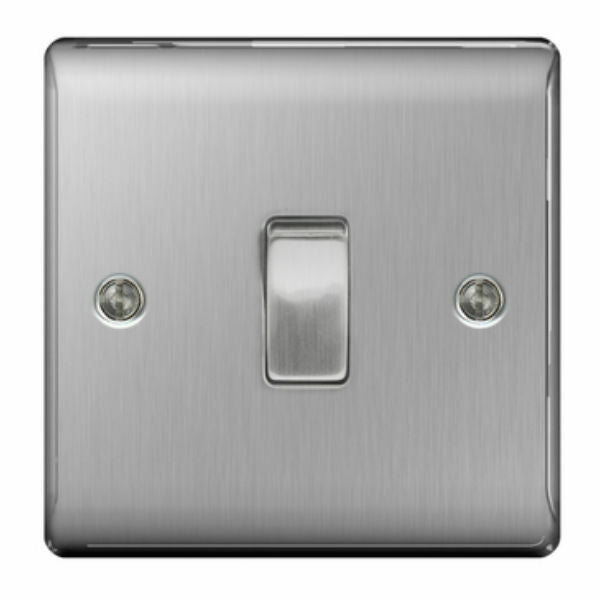 BG NBS13 Brushed Steel Intermediate 10 Amp 10AX Light Switch - SND Electrical Ltd
