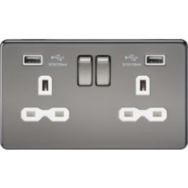 Screwless SFR9902BN Socket with USB Black Nickel MLA - SND Electrical Ltd