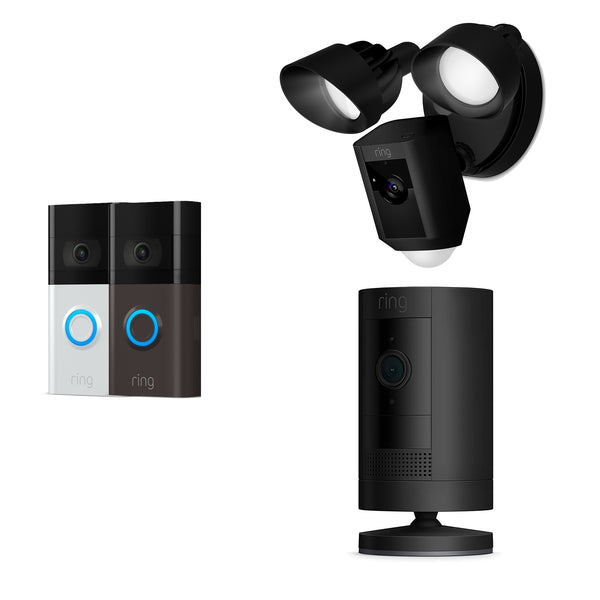 Ring Video Doorbell 3 with Floodlight & Stick Up Camera Battery *MEGA BUNDLE*