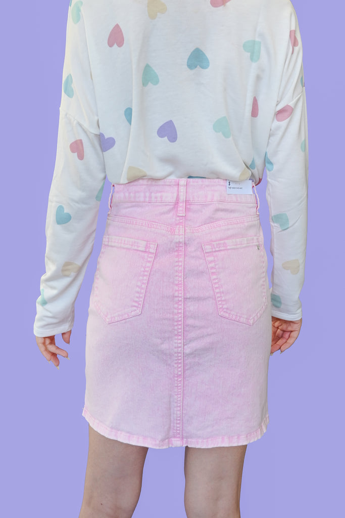 Pink Acid Wash Denim Skirt