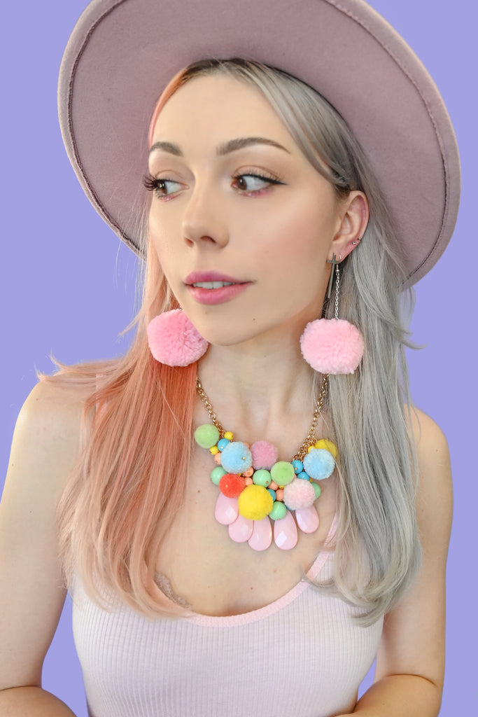 Pastel Pompom Waterfall Necklace