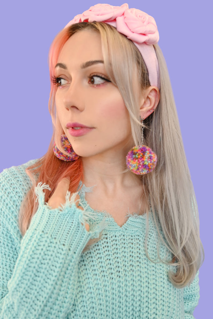 Pompom Drop Earrings - Confetti