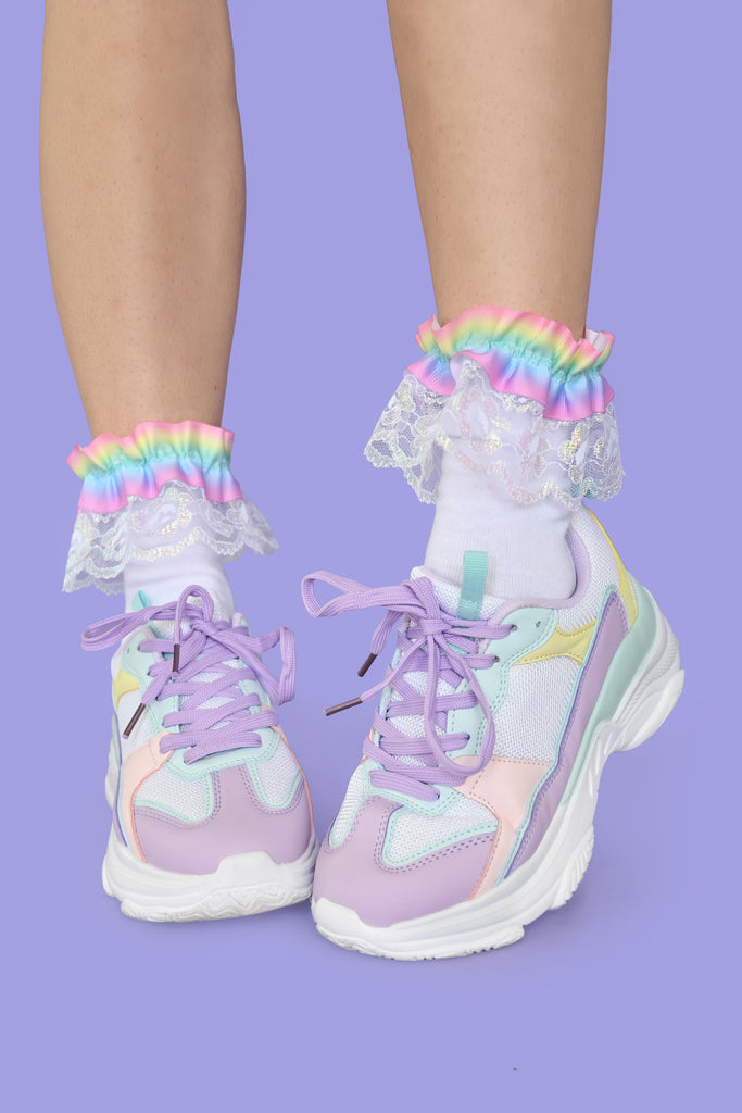 Dreamy Ruffle Rainbow Socks