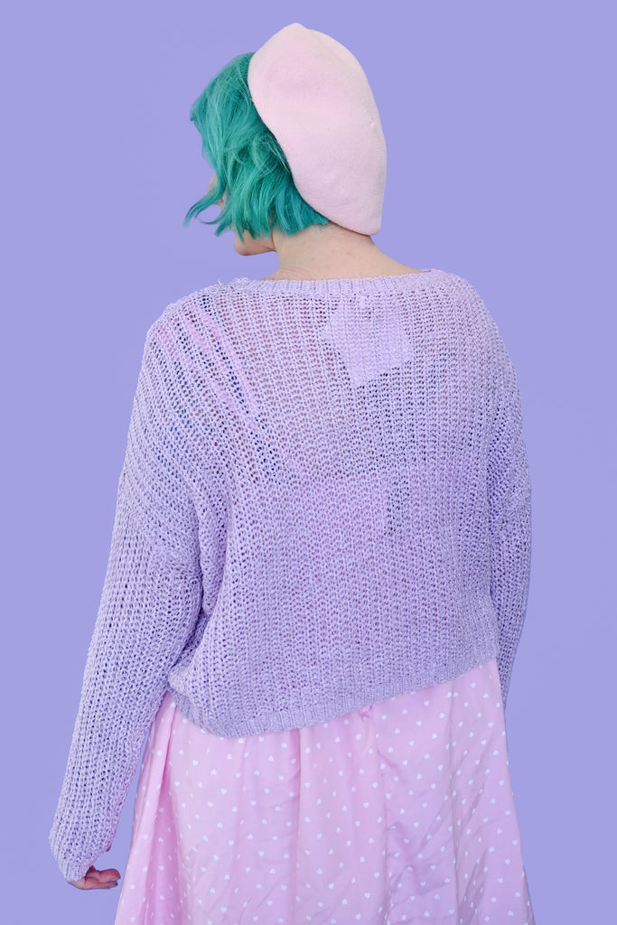 My Heart! Oversized Cropped Sweater - Lavender