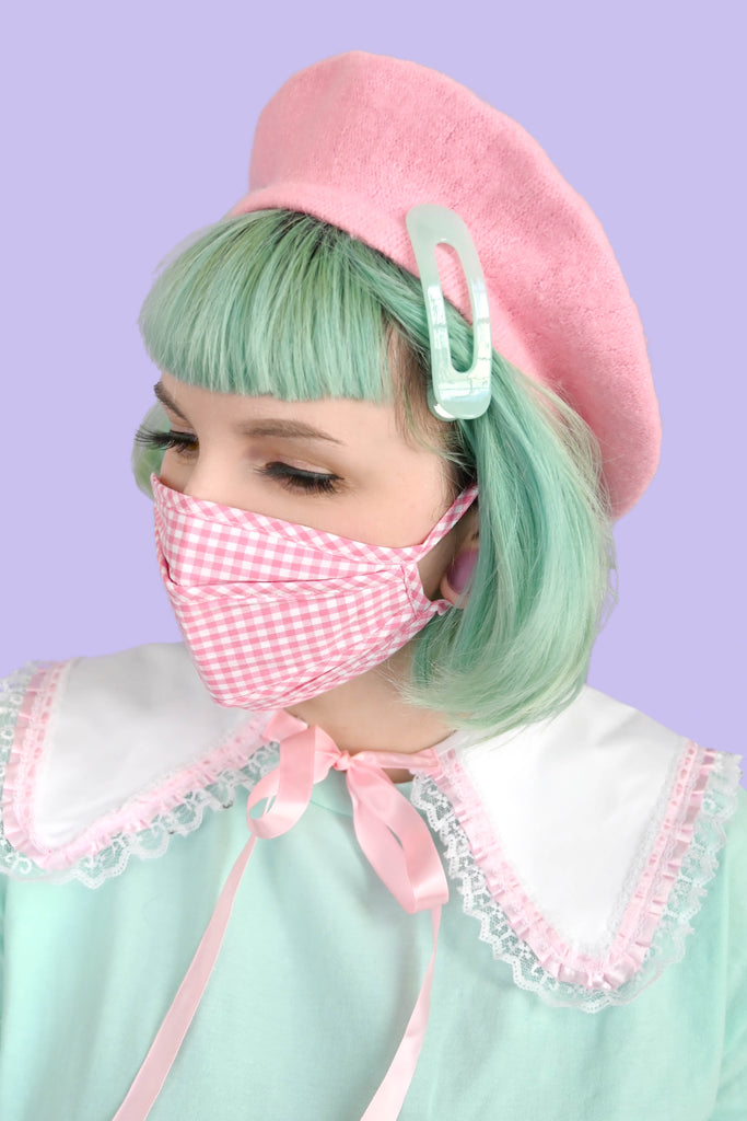 Pink Picnic Fitted Face Mask