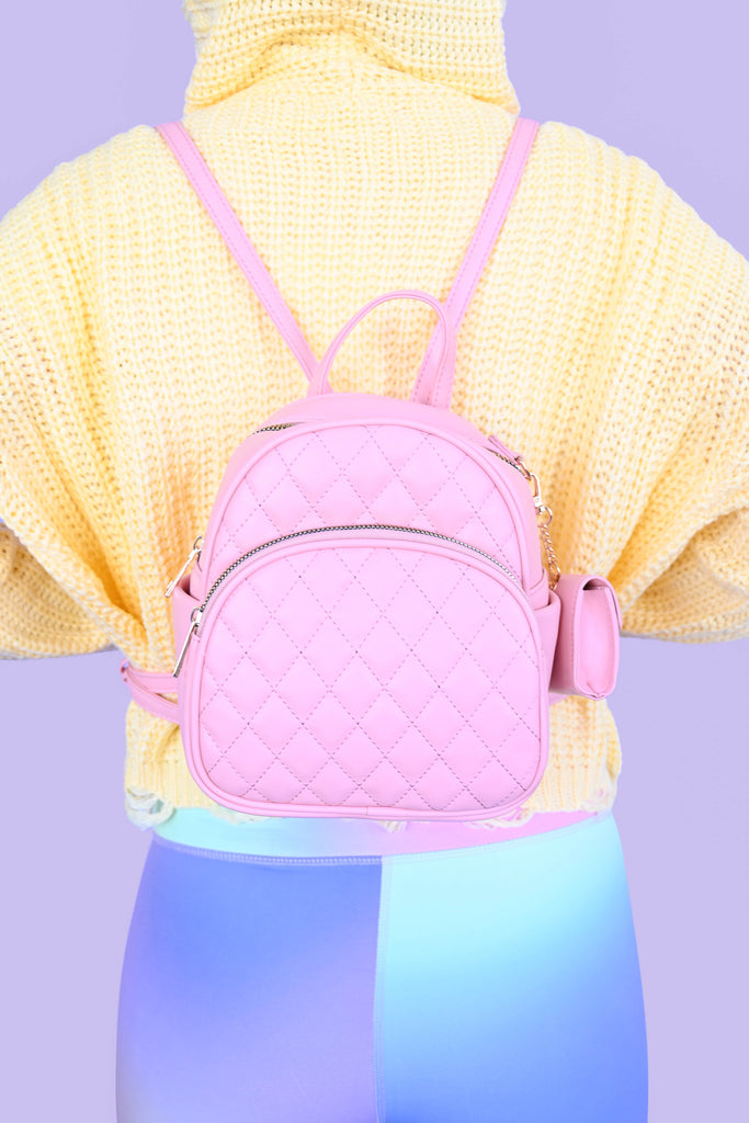 Quilted Backpack w/ Mini Pouch - Pink