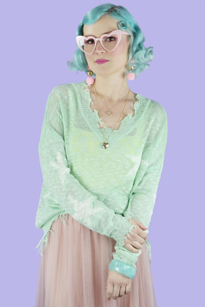Mint Star Sweater