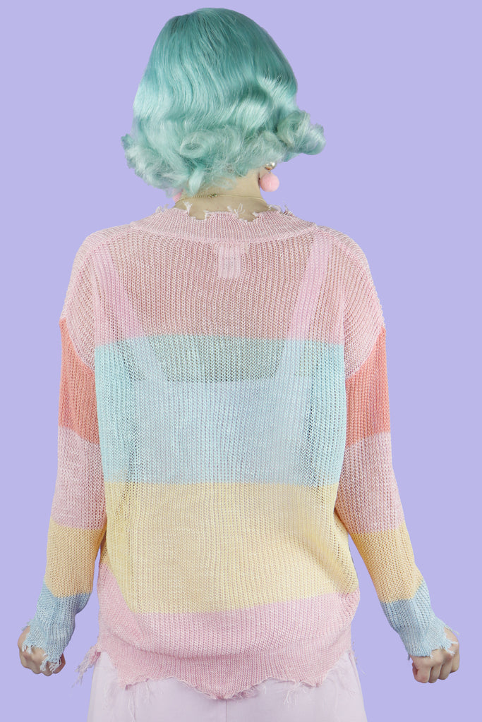 Rainbow Connection Distressed Sweater