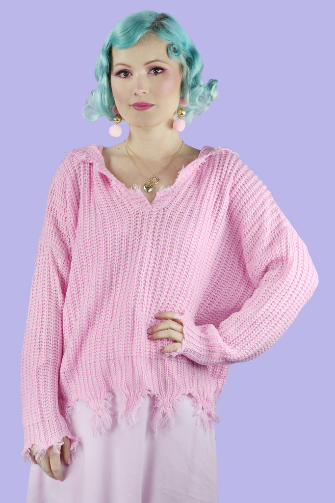 Distressed Cropped Candy Sweater- Pink