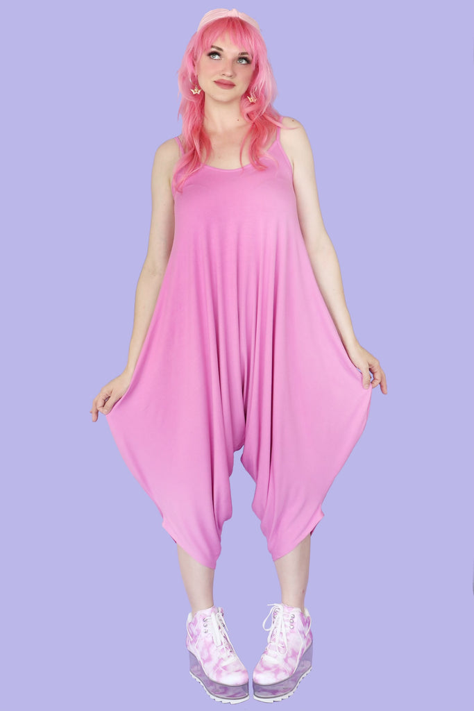 Bubblegum Pink Tokyo Cropped Oversized Drop-Crotch Jumpsuit WITH POCKETS!