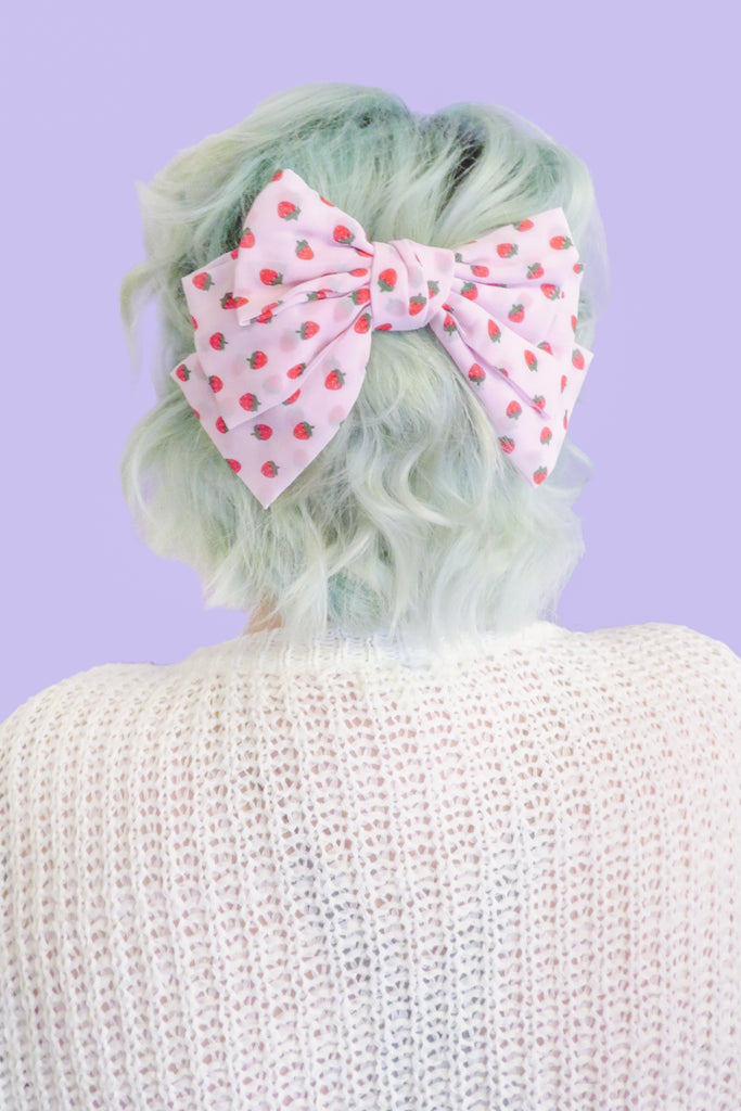 Strawberry Oversized Hair Bow