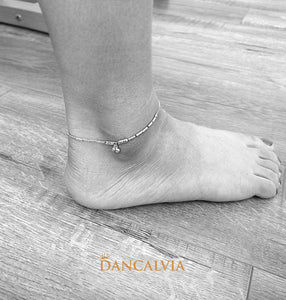 925 Sterling Silver Anklet With Silver Beads Charm