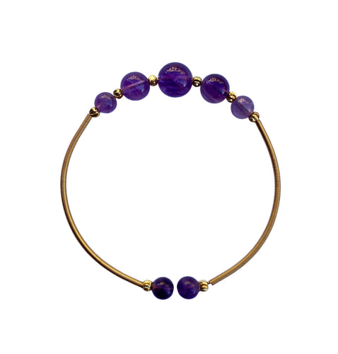 Flexible Amethyst Beaded Bangle