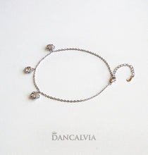 Load image into Gallery viewer, 925 Sterling Silver Anklet With Silver Flower Charms