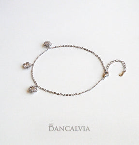 925 Sterling Silver Anklet With Silver Flower Charms
