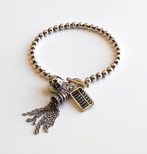 Load image into Gallery viewer, Women's 925 Sterling Silver Bracelet With tessal Charm, Bell Charm, Antique Calculator Charm