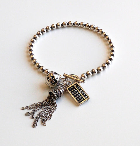 Women's 925 Sterling Silver Bracelet With tessal Charm, Bell Charm, Antique Calculator Charm