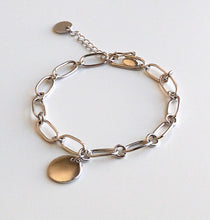 Load image into Gallery viewer, Women's 925 Sterling Silver Bold Chain Bracelet With A Round Charm