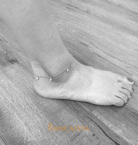 925 Sterling Silver Anklet With Silver Crosses