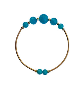 Flexible Amazonite Beaded Bangle