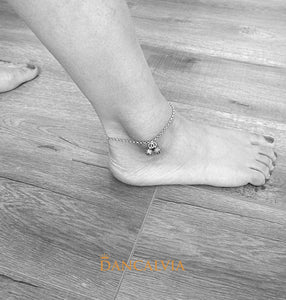 925 Sterling Silver Anklet With Two Bells
