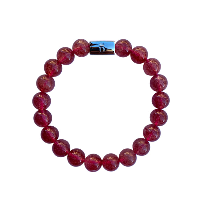 Women's Strawberry Quartz Beaded Stretch Bracelet