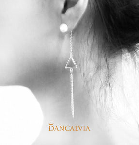 925 Sterling Silver Triangle Earring With Mother Of Pearl