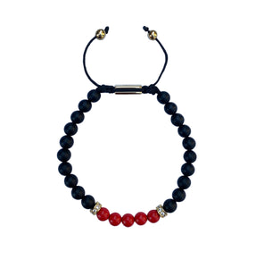 Matt Onyx & Red Stone Adjustable Bracelet