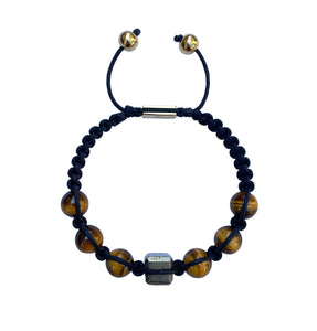 Yellow Tiger Eye & Pyrite Macrame Bracelet
