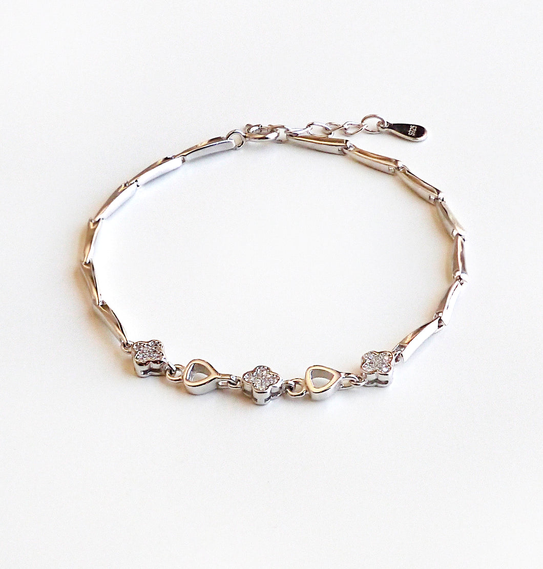 Women's 925 Sterling Silver Flower And Heart Chain Bracelet