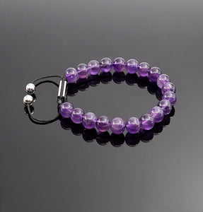 Women's Amethyst Handmade Beaded Bracelet Adjustable Gemstone Bracelets