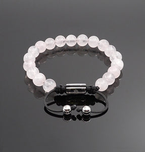 Womens Rose Quartz handmade Adjustable bracelet