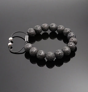 Men's Lava Rock Bracelet Stress Relief Adjustable Bracelet