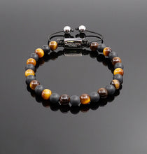 Load image into Gallery viewer, Unisex Tiger Eye & Matt onyx Beaded Bracelet Gemstone Bracelet