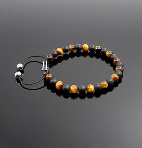 Unisex Tiger Eye & Matt onyx Beaded Bracelet Gemstone Bracelet